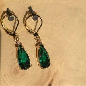 Large emerald color drop earrings